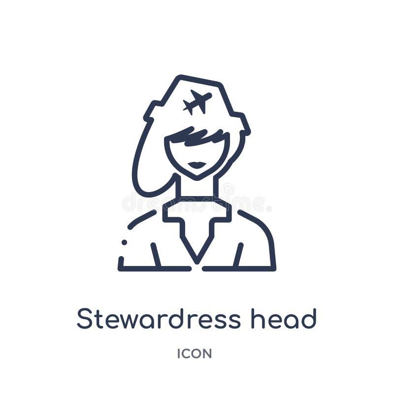 Icono principal de los stewardress lineares de la colección del esquema del terminal de aeropuerto La línea fina stewardress diri libre illustration