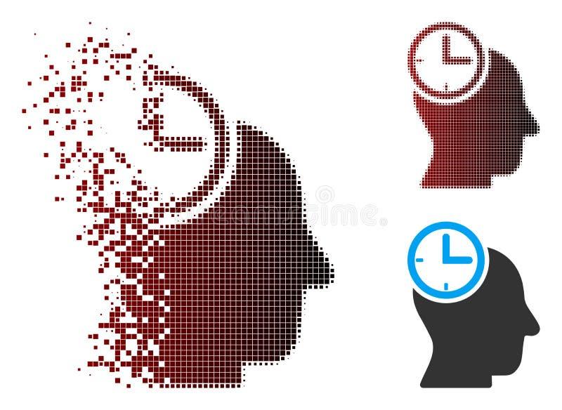 Icono principal de pensamiento de disolución del tiempo de semitono del pixel stock de ilustración