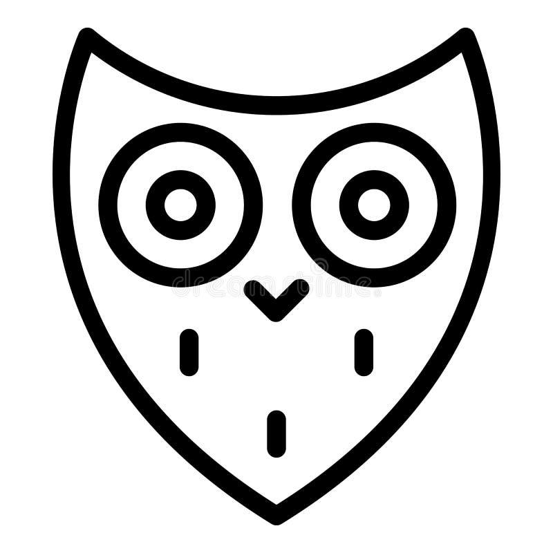 Icono principal del búho estilizado, estilo del esquema ilustración del vector