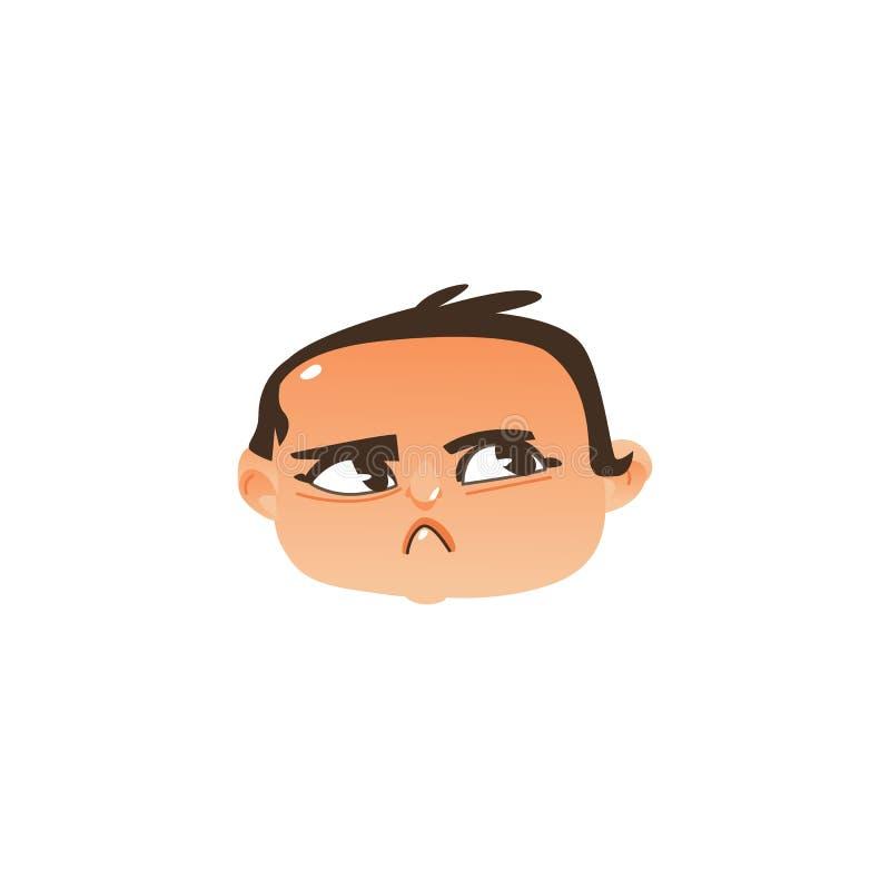 Icono principal del bebé - enojado, expresión sospechosa de la cara stock de ilustración