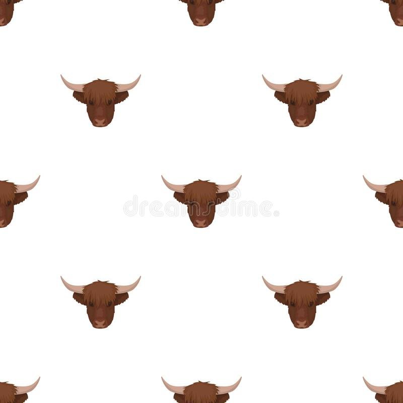 Icono principal del ganado de la montaña en estilo de la historieta aislado en el fondo blanco libre illustration
