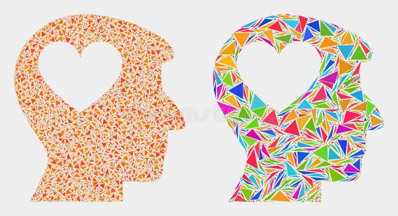 Icono principal del mosaico del hombre precioso del corazón del vector de triángulos ilustración del vector