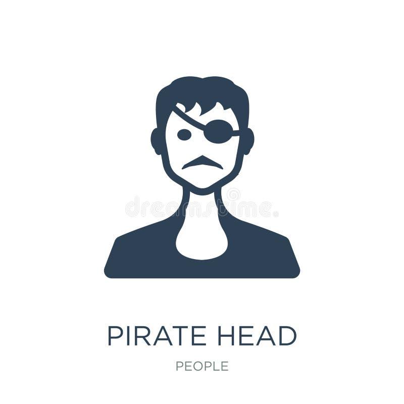 icono principal del pirata en estilo de moda del diseño icono principal del pirata aislado en el fondo blanco icono principal del ilustración del vector