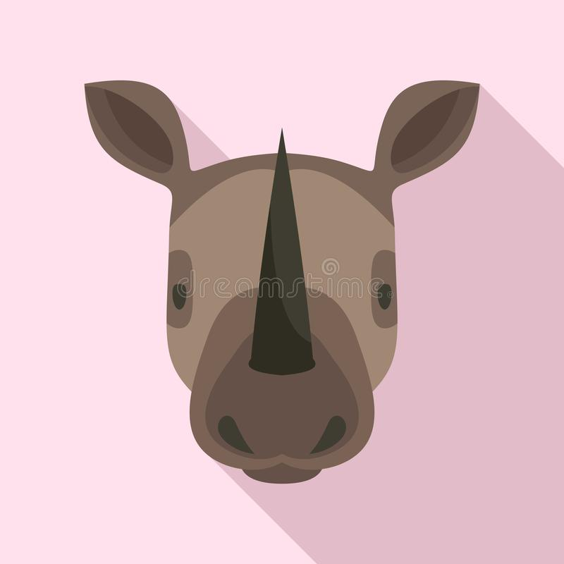 Icono principal del rinoceronte, estilo plano libre illustration