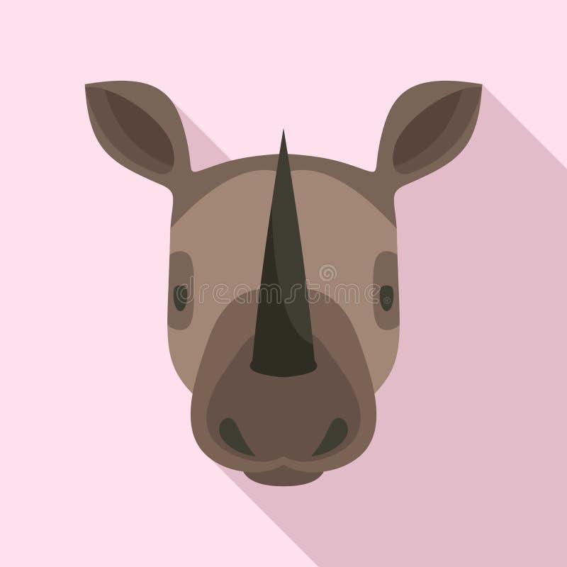 Icono principal del rinoceronte, estilo plano ilustración del vector