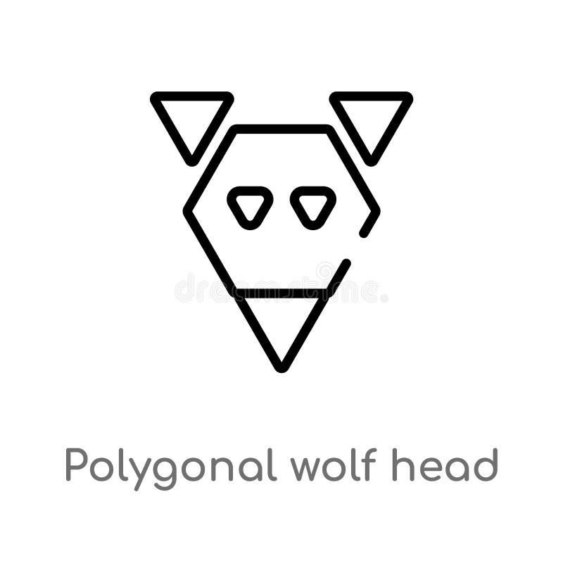 icono principal del vector del lobo poligonal del esquema línea simple negra aislada ejemplo del elemento del concepto de la geom ilustración del vector