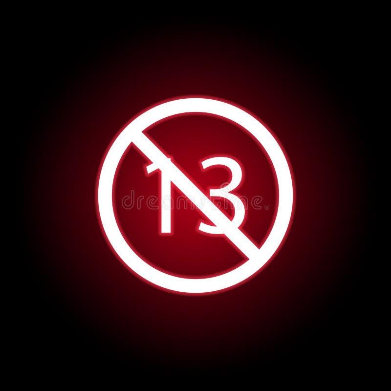 Icono prohibido de 13 edades en estilo de neón rojo Puede ser utilizado para la web, logotipo, app m?vil, UI, UX libre illustration
