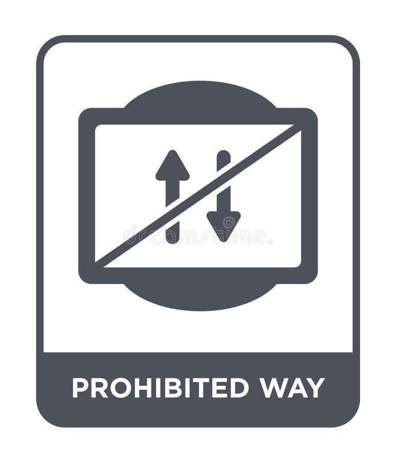 icono prohibido de la manera en estilo de moda del diseño icono prohibido de la manera aislado en el fondo blanco icono prohibido ilustración del vector