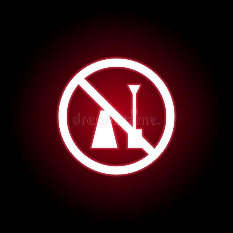 Icono prohibido del esmalte de uñas en estilo de neón rojo Puede ser utilizado para la web, logotipo, app m?vil, UI, UX stock de ilustración