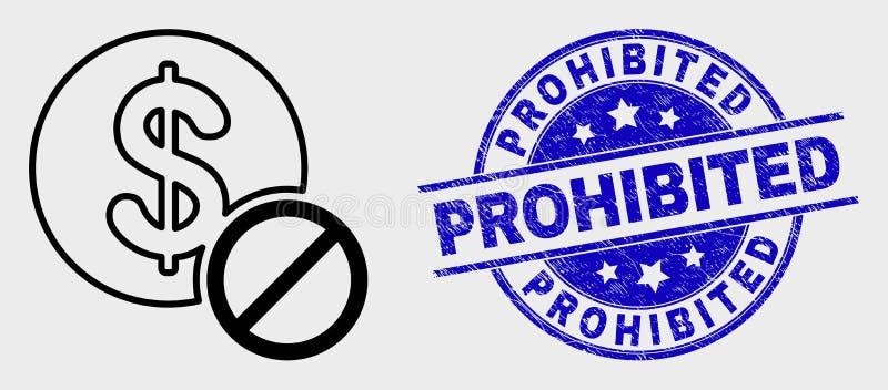 Icono prohibido esquema del dólar del vector y apenar el sello prohibido ilustración del vector