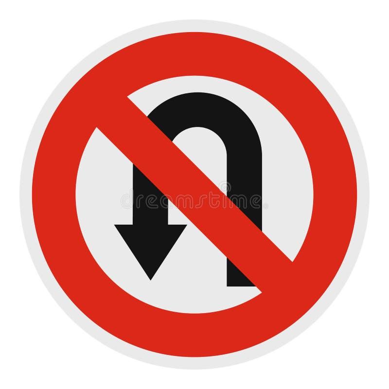 Icono prohibido Uturn, estilo plano stock de ilustración