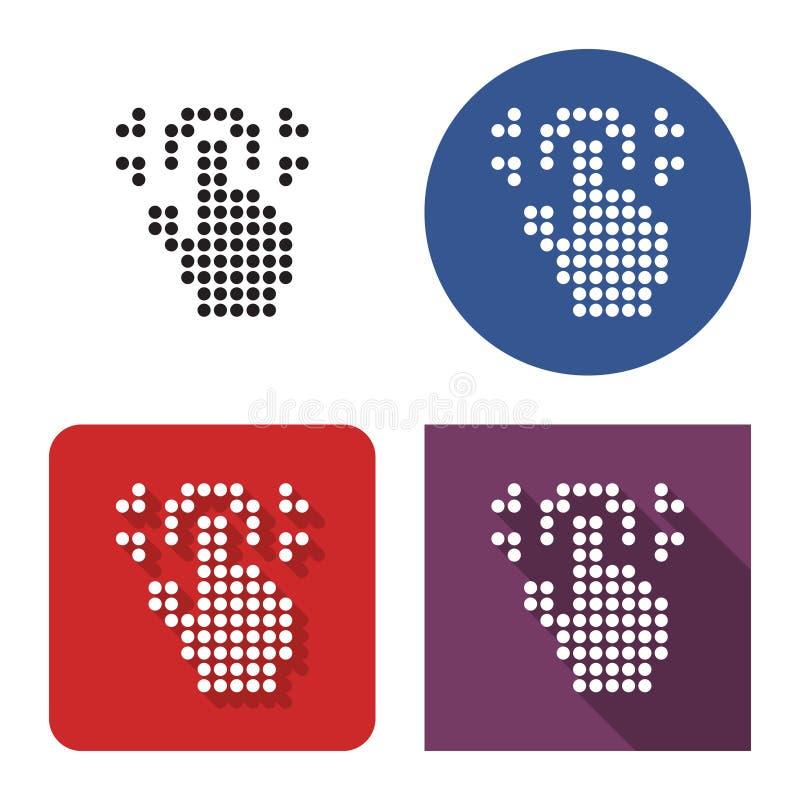 Icono punteado de la exploración de la huella dactilar en cuatro variantes stock de ilustración