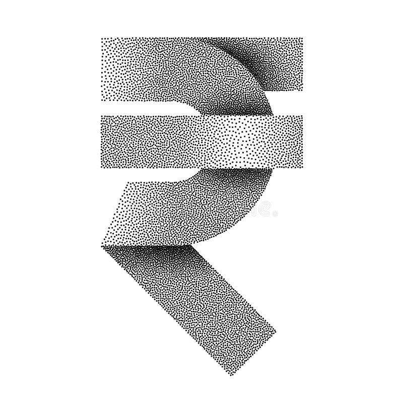 Icono punteado de la muestra de la rupia india Símbolo de moneda de la INR Ilustración del vector stock de ilustración
