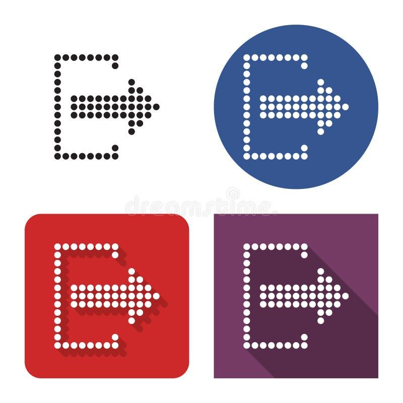 Icono punteado de la salida del sistema de la salida en cuatro variantes libre illustration