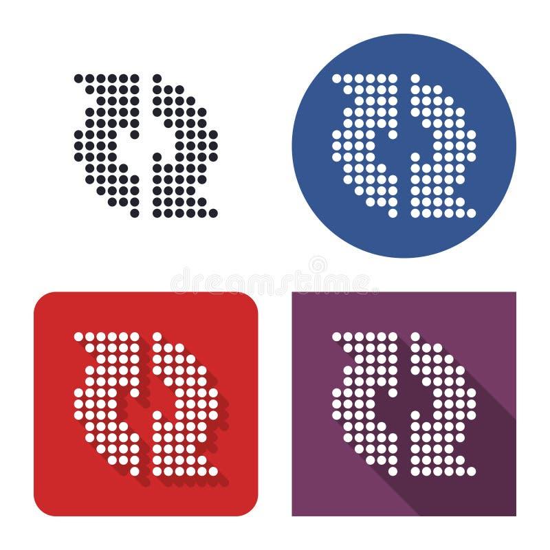 Icono punteado de reciclar flechas en cuatro variantes ilustración del vector