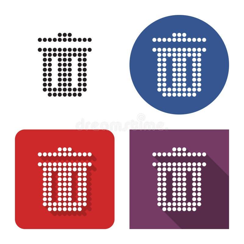 Icono punteado del compartimiento de la basura en cuatro variantes ilustración del vector