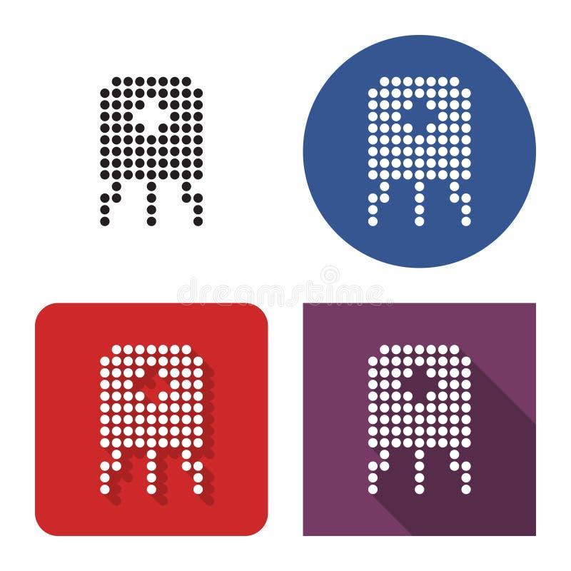 Icono punteado del transistor en cuatro variantes ilustración del vector