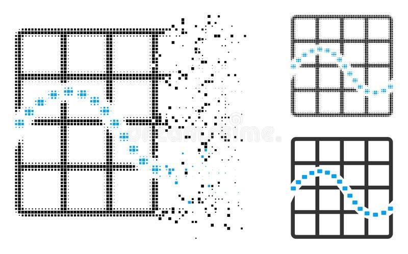 Icono punteado destrozado de la carta de la función punteada del tono medio ilustración del vector
