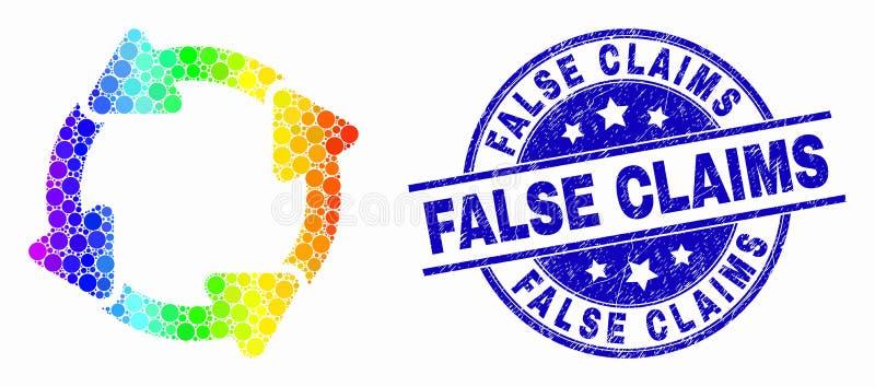 Icono punteado espectral de las flechas de la circulación del vector y sello falso rasguñado de las demandas ilustración del vector