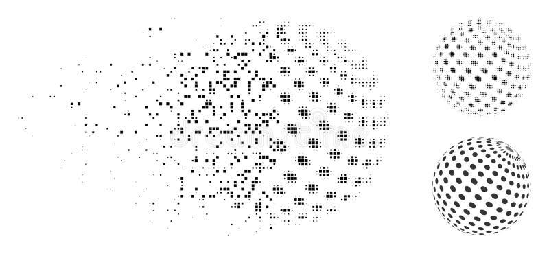 Icono punteado extracto de semitono punteado dañado de la esfera stock de ilustración
