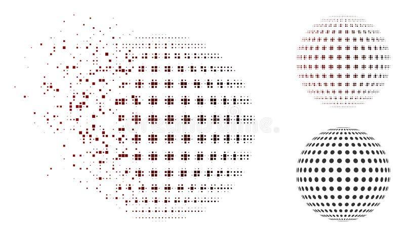 Icono punteado extracto de semitono destrozado de la esfera del pixel stock de ilustración