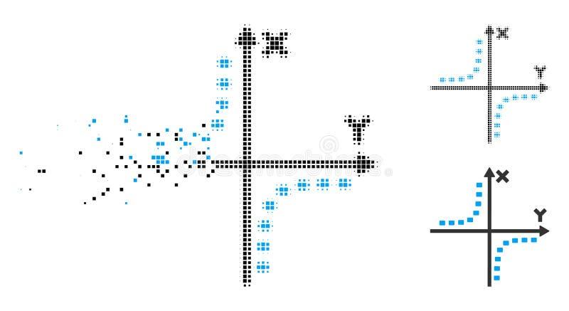 Icono punteado tono medio descompuesto del diagrama de la hipérbola de Pixelated ilustración del vector