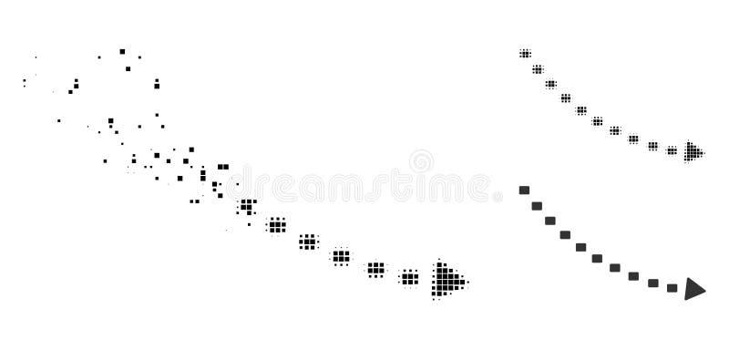 Icono punteado tono medio destrozado de la tendencia de la disminución de Pixelated stock de ilustración