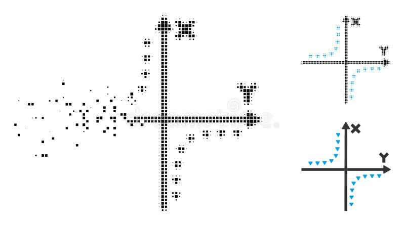 Icono punteado tono medio destrozado del diagrama de la hipérbola del pixel stock de ilustración