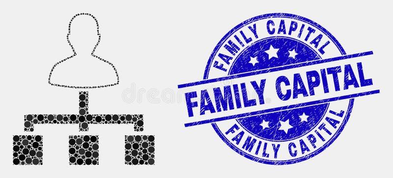 Icono punteado vector de los vínculos del usuario y filigrana rasguñada del capital de familia libre illustration