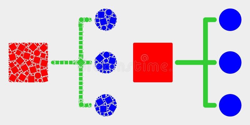 Icono punteado y plano de la jerarquía del vector stock de ilustración
