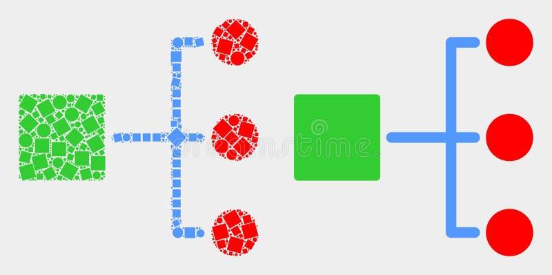 Icono punteado y plano de la jerarquía del vector ilustración del vector