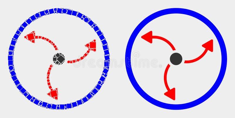 Icono punteado y plano de la rotación de la turbina del vector libre illustration