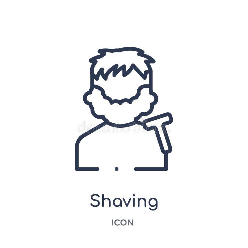 Icono que afeita linear de la colección del esquema de la belleza Línea fina que afeita el icono aislado en el fondo blanco el af libre illustration