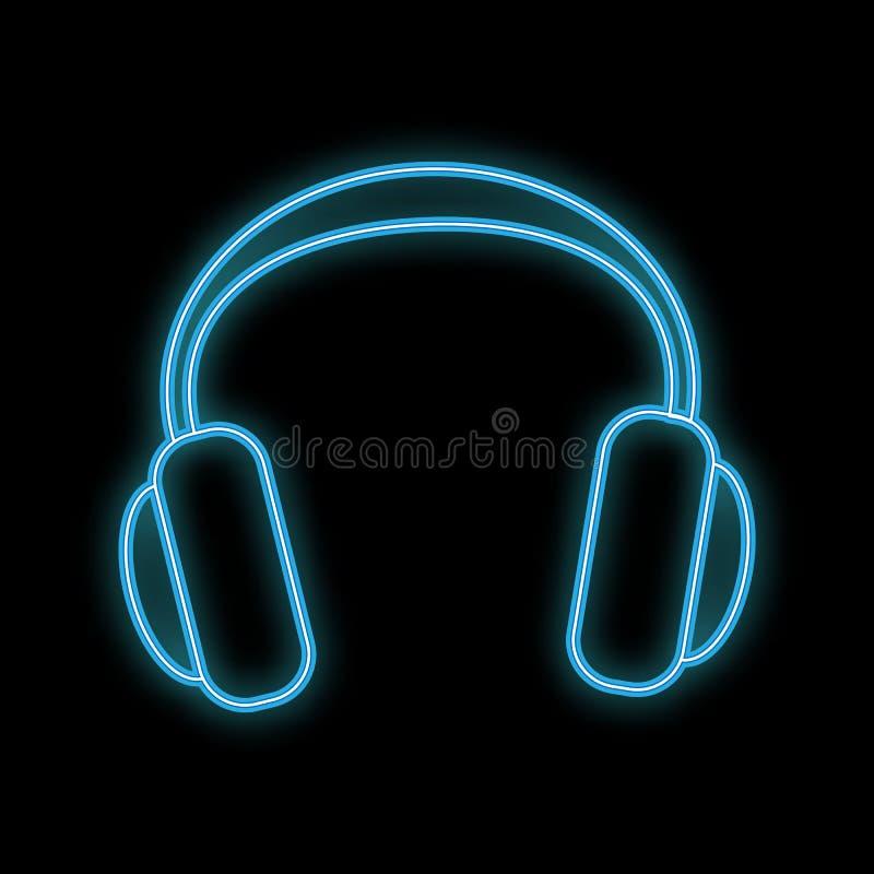 Icono que brilla intensamente brillante de neón del extracto hermoso, letrero del mismo tamaño con los auriculares de la música y ilustración del vector
