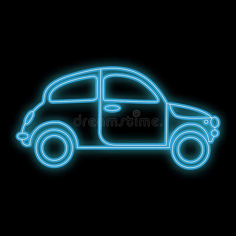 Icono que brilla intensamente brillante de neón del extracto hermoso, un letrero de un coche retro viejo de la ventana trasera a  ilustración del vector