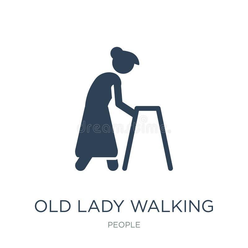 icono que camina de la señora mayor en estilo de moda del diseño icono que camina de la señora mayor aislado en el fondo blanco i libre illustration