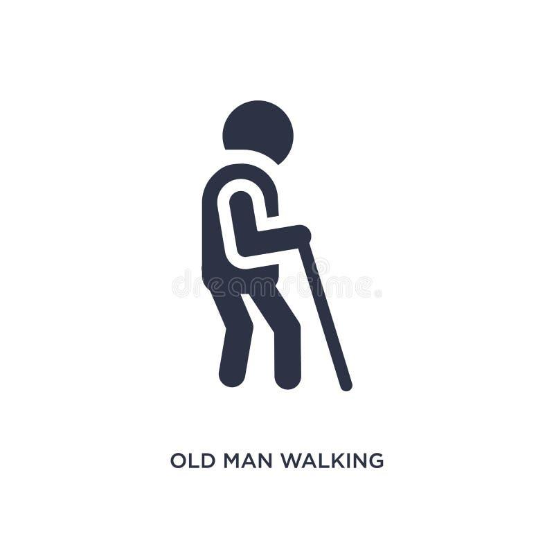 icono que camina del viejo hombre en el fondo blanco Ejemplo simple del elemento del concepto del comportamiento stock de ilustración