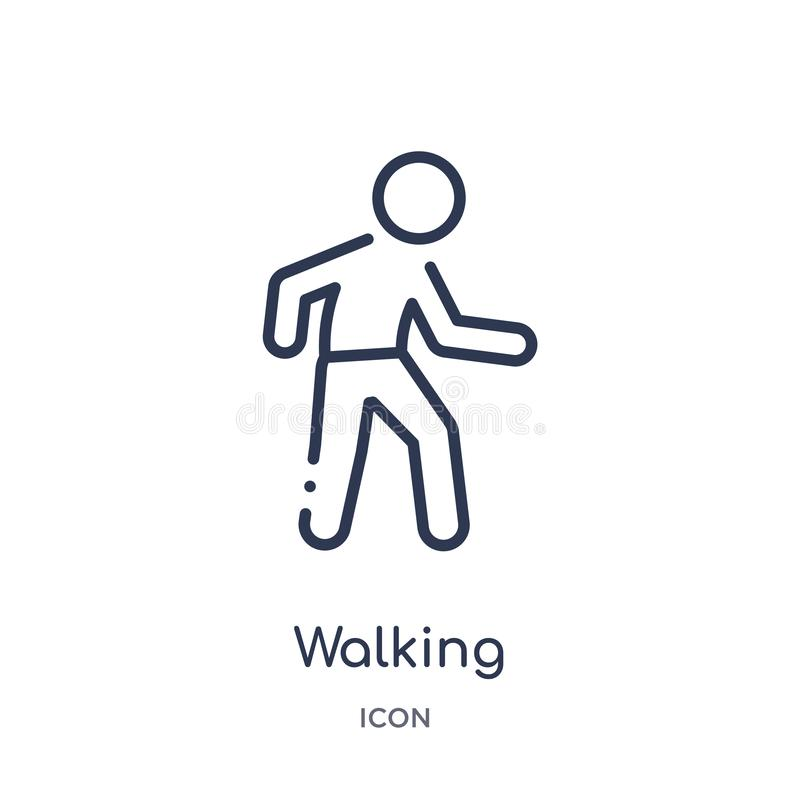 Icono que camina linear de la actividad y de la colección del esquema de las aficiones Línea fina vector que camina aislado en el stock de ilustración