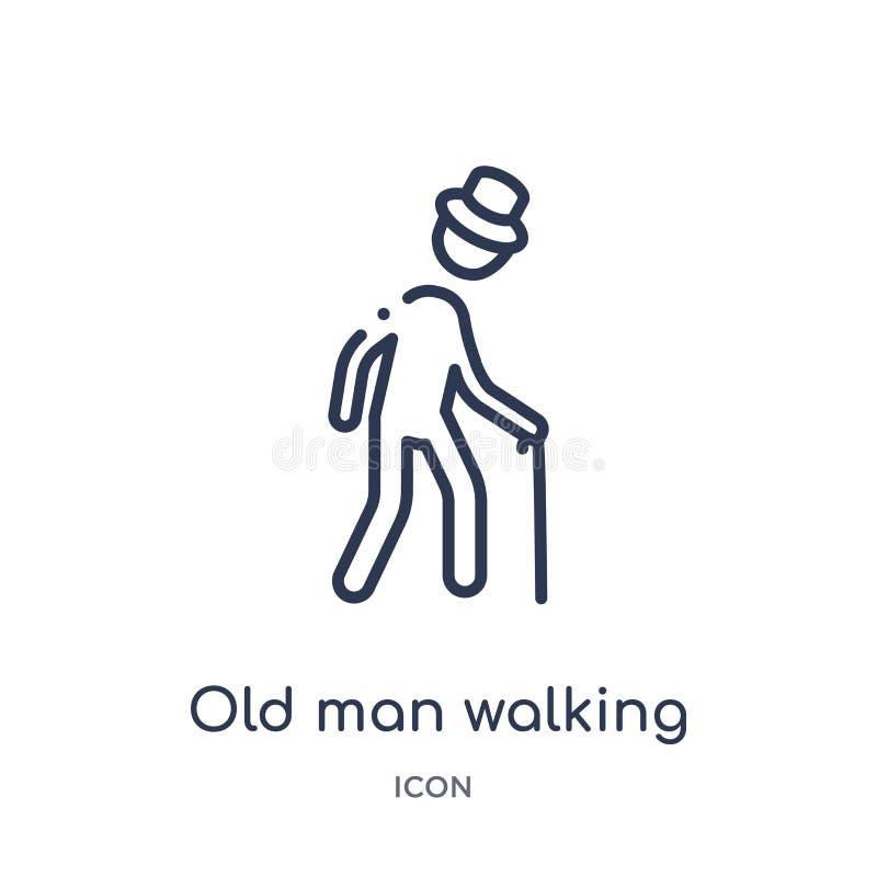 Icono que camina linear del viejo hombre de la colección del esquema del comportamiento Línea fina vector que camina del viejo ho ilustración del vector