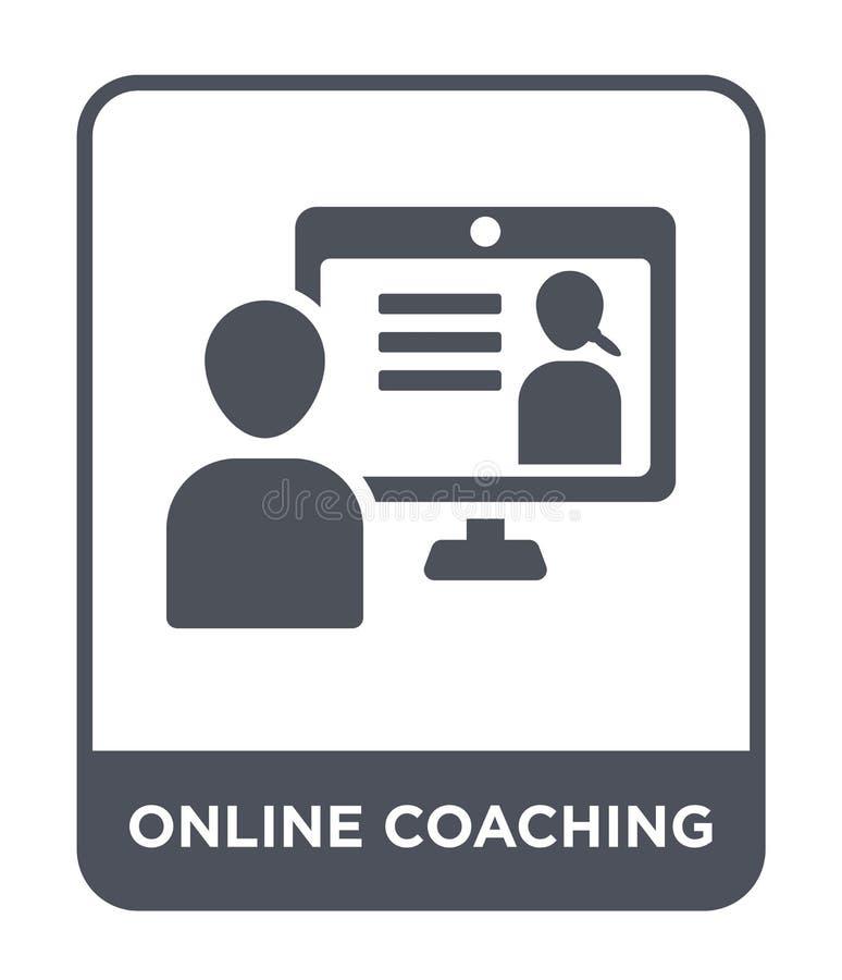 icono que entrena en línea en estilo de moda del diseño icono que entrena en línea aislado en el fondo blanco icono en línea del  stock de ilustración