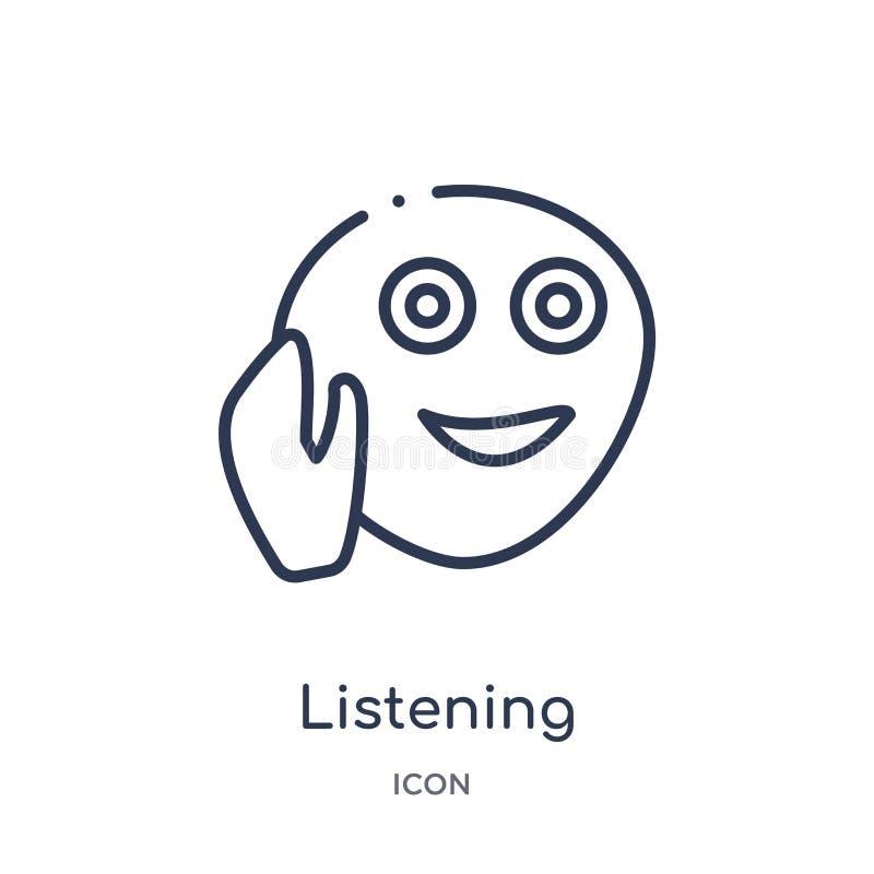 Icono que escucha linear de la colección del esquema de las emociones Línea fina vector que escucha aislado en el fondo blanco el libre illustration