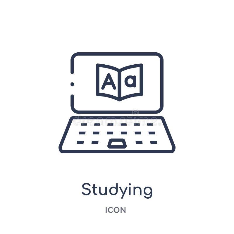 Icono que estudia linear de la colección del esquema del Elearning y de la educación Línea fina que estudia el vector aislado en  stock de ilustración