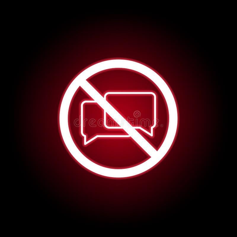 Icono que habla prohibido en estilo de neón rojo Puede ser utilizado para la web, logotipo, app m?vil, UI, UX ilustración del vector