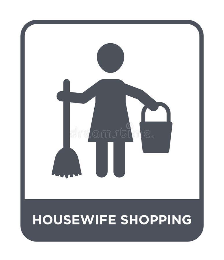 icono que hace compras del ama de casa en estilo de moda del diseño icono que hace compras del ama de casa aislado en el fondo bl libre illustration