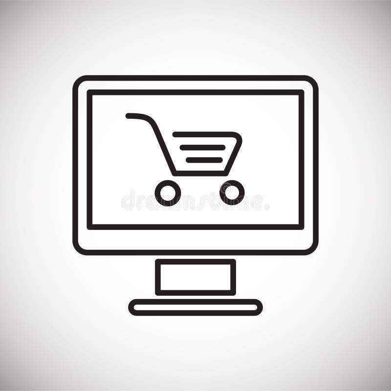 Icono que hace compras en línea en el fondo blanco para el gráfico y el diseño web, muestra simple moderna del vector Concepto de foto de archivo