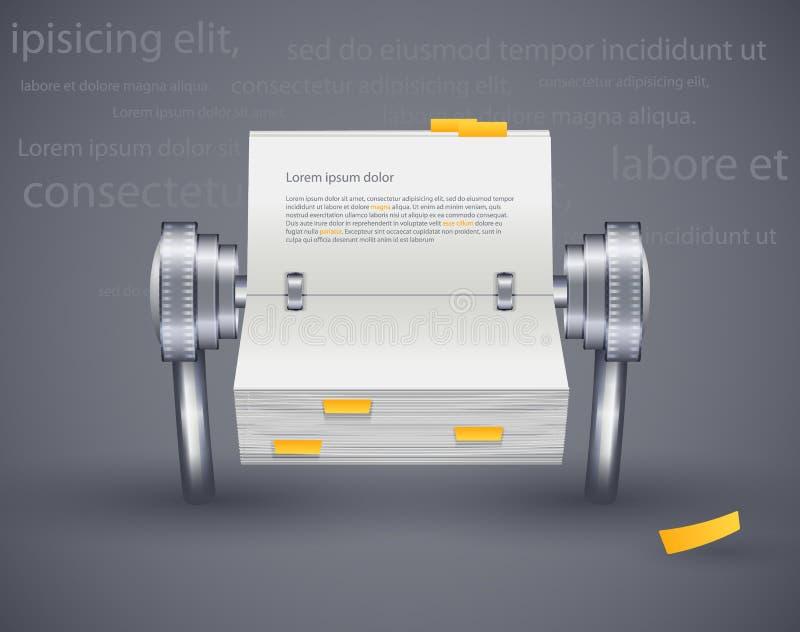 Icono que lee el diario del papel para las notas ilustración del vector