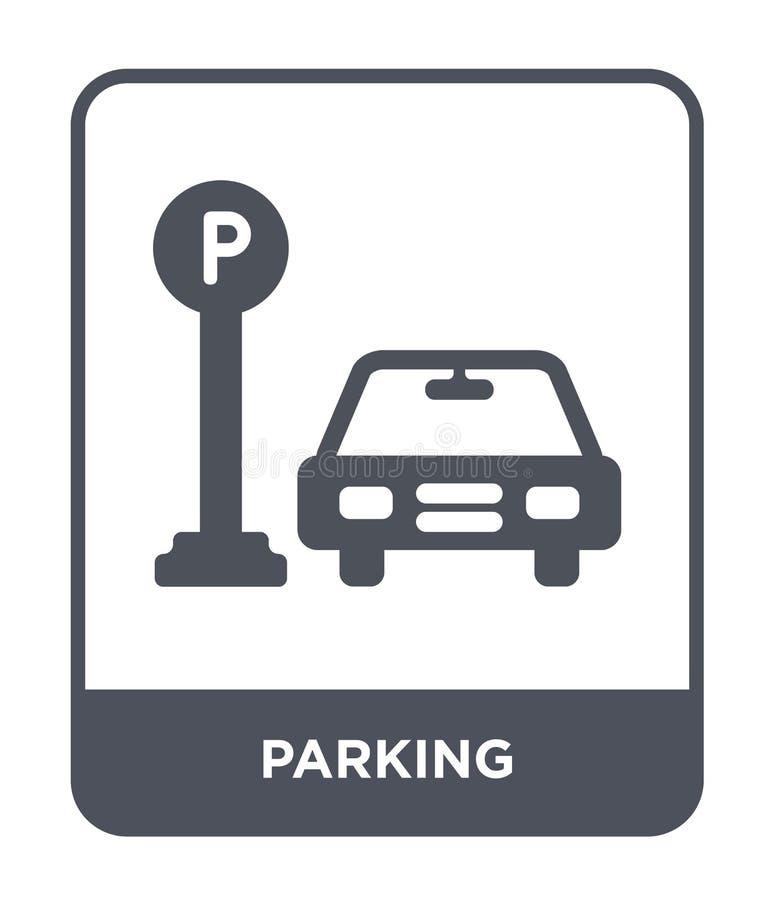icono que parquea en estilo de moda del diseño Icono del estacionamiento aislado en el fondo blanco símbolo plano simple y modern stock de ilustración