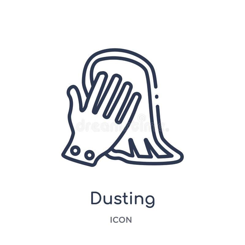 Icono que saca el polvo linear de la colección de limpieza del esquema Línea fina vector de la polvoreda aislado en el fondo blan libre illustration
