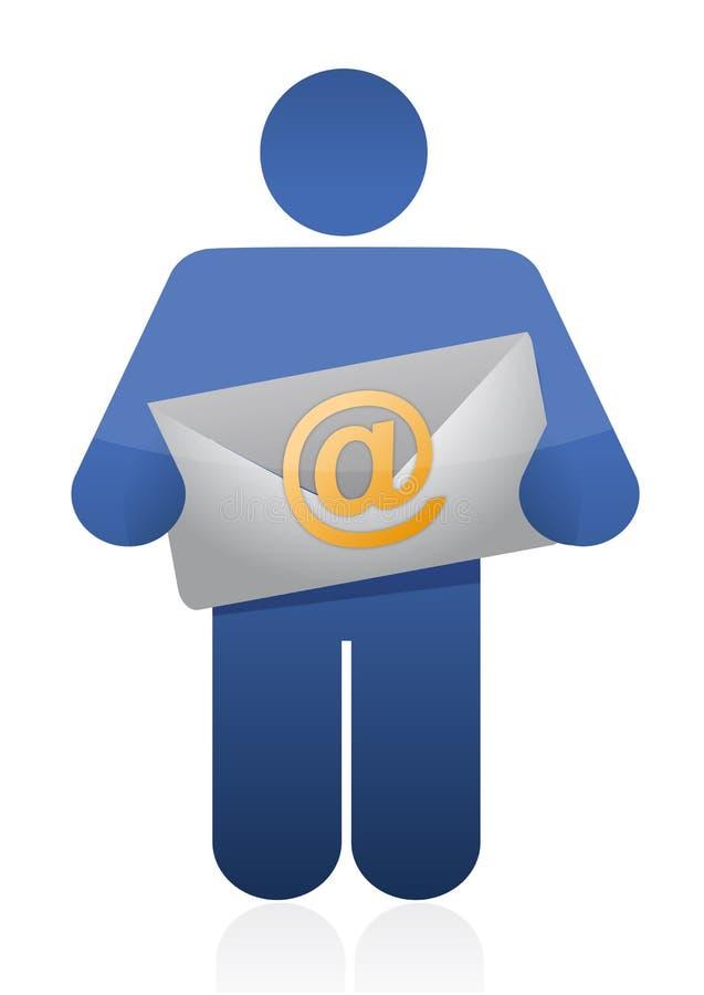 Icono que sostiene un sobre del correo electrónico stock de ilustración