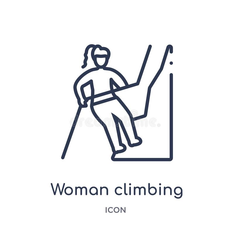 Icono que sube de la mujer linear de la colección del esquema de las señoras Línea fina icono que sube de la mujer aislado en el  ilustración del vector
